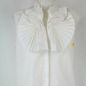 Givenchy White Pleated Tank Size 4